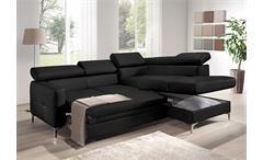 Ecksofa Sammy Polsterecke Sofa Wohnlandschaft in schwarz mit Bettfunktion