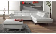 Ecksofa Carrier Wohnlandschaft Sofa Polsterecke in weiß mit Kopfteilfunktion