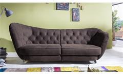 Megasofa RETRO Vintage Look Sofa 3-Sitzer Microfaser braun