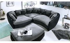 Ecksofa Tunis Wohnlandschaft Polsterecke schwarz grau inkl. 21 Kissen 275x275 cm