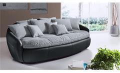 Megasofa Crasus Bigsofa XXL Sofa Couch in schwarz und grau inkl. 9 Kissen 238 cm