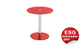 Beistelltisch Flyp ESG Glas rot für Flur Wohnzimmertisch Blumentisch