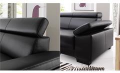 Sofa Santiago 2er-Sofa Zweisitzer in Leder schwarz mit Funktion 206 cm