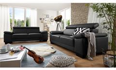 Sofa Santiago 3er-Sofa Dreisitzer in Leder schwarz mit Funktion 226 cm