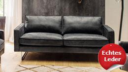 Sofa ELIAN 2,5-Sitzer Couch Sitzmöbel Leder schwarz 183 cm