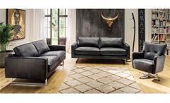 Sofa 2,5-Sitzer Couch Polstersofa Sitzmöbel Elian in Leder schwarz 183 cm