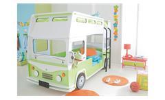 Etagenbett Bussy Autobus Hochbett Kinderbett MDF weiß grün lackiert mit Rollrost