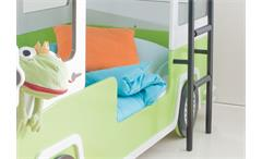Hochbett Autobus Kinder Etagenbett Bett in grün und weiß mit Leiter