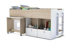 Kombi-Bett GAME Hochbett in Weiß und Akazie 90x190 cm