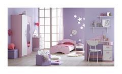 Kinderzimmerset 3 Tlg. Papillon Kinderzimmer in orchidee rosa weiß mit Spiegel