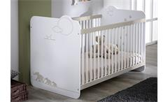 Babybett Jungle Kinderbett Sprossenbett Bett in weiß mit Dschungelmotiv