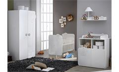 Babyzimmerset Teddy Kinderzimmer Schrank Bett weiß mit Teddymotiv
