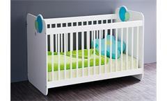 Babybett Bulles Kinderbett Sprossenbett Bett in weiß blau grün mit Motiv