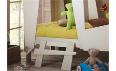 Hochbett CABANE Kinderbett Bett in Hüttenform taupe beige inkl. Leiter Rollrost