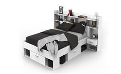 Bett Chicago Jugendzimmerbett Kinderbett mit Umbau weiß inklusive LED