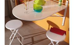 Wandtisch SINAI Klapptisch Tisch Esstisch mit 2 Hocker klappbar weiß Glanz