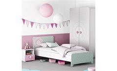 Kinderzimmerset SUZETTE Kinderzimmer Schrank Bett Nako weiß grün und rosa
