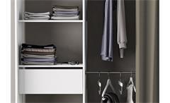 Kleiderschrank Chicago Garderobe Regal Schrank perle weiß mit Vorhang