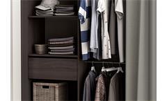 Kleiderschrank Chicago Garderobe Regal Schrank vulcano Eiche mit Vorhang