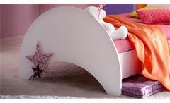 Bett Fee Jugendzimmerbett weiß flieder lila Melamin und Siebdruck 90x200 cm