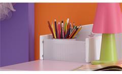 Schreibtisch Fee Kinderschreibtisch weiß flieder lila Melamin und Siebdruck