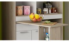 Küchenschrank Urbans Schrank Regal weiß und Sonoma Eiche mit ausziehbarer Platte