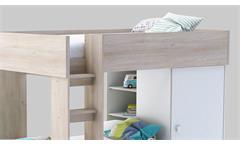 Etagenbett Treno Bett Hochbett mit Kleiderschrank in weiß und Akazie 90x200 cm
