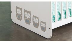 Babybett Hiboux Kinderbett Gitterbett mit Eulenmotiv MDF weiß 60x120 cm