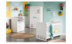 Babyzimmer Hiboux Babybett Schrank Wickelkommode mit Eulemotiv MDF weiß