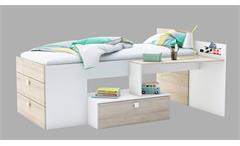 Bett Move Bettkombination Jugendzimmer Perle weiß und Akazie 90x200 cm
