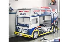 Etagenbett POLICE Kinderbett Polizeibus in blau und weiß
