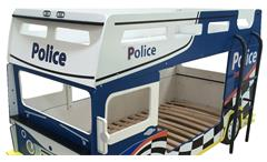 Etagenbett Bussy Police Kinderbett Hochbett Polizeibus in blau und weiß
