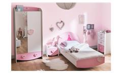 Kinderzimmer Anastasia Komplett Set weiß MDF rosa lackiert mit Spiegel 3-teilig