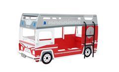 Etagenbett Pompier Feuerwehrauto Kinderbett Hochbett rot und weiß 2x 90x200 cm