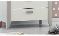 Wickelkommode Noar Wickeltisch Kommode weiß und taupe grau lackiert mit Aufsatz