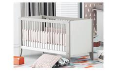 Babybett Noar Kinderbett Gitterbett höhenverstellbar weiß taupe grau 70x140 cm