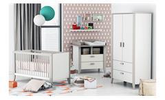 Babyzimmer Noar Kinderzimmer Komplett Set weiß taupe grau mit Aufsatz 3-teilig