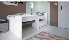 Bett Bony Jugendbett Kinderbett Kombibett Bett weiß mit Schubkasten 90x200 cm