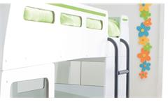 Etagenbett Autobus Hochbett Bussy Kinderbett MDF weiß grün lackiert