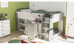Kinderbett Hampton Hochbett Bett inkl. Schreibtisch weiß matt grau 90x200