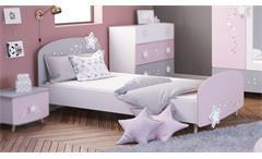 Bett Stella Kinderbett Kinderzimmer in matt weiß grau rosa mit Sternmotiv 90x200