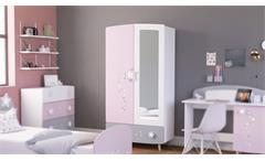 Kleiderschrank Stella Schrank Kinderzimmer mit Spiegel matt weiß grau und rosa