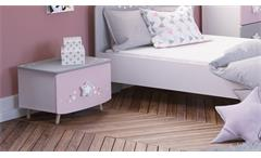 Nachtkommode Stella Nachtschrank Kommode Kinderzimmer in matt weiß grau und rosa