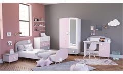 Kinderzimmer Set Stella Bett Schrank Kommode Schreibtisch in matt weiß grau rosa