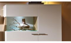 Highboard Studio 2 weiß lackiert mit Glas Absetzung Eiche Wohnzimmerschrank