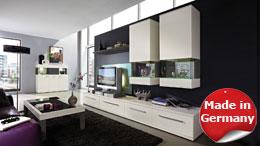 Wohnwand weiß matt lackiert Esche grau Studio 2 Kombi 4
