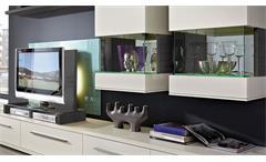 Wohnwand weiß matt lackiert Esche grau 2 Hängevitrinen Studio 2 Anbauwand 4