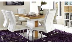 Esstisch ausziehbar Light Line Eiche furniert weiß matt lackiert Esszimmertisch