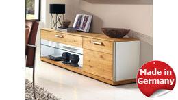 TV-Board Lowboard Medienboard Light Line 4 Balkeneiche furniert weiß Lack 163 cm