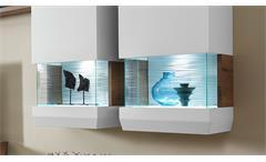 Wohnwand 1 Anbauwand Light Line 2 weiß matt lackiert und Kanada Eiche inkl. LED